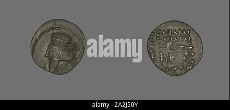 Drachm (Coin) Portraying King Mithradates IV, AD 130/47, Persian, Parthia, Khorasan, Silver, Diam. 2 cm, 3.61 g - Stock Photo