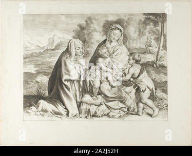 Holy Family, n.d., Cornelis Visscher (Dutch, c. 1629-1658), after Paolo Caliari, called Veronese (Italian, 1528-1588), Holland, Engraving on paper - Stock Photo