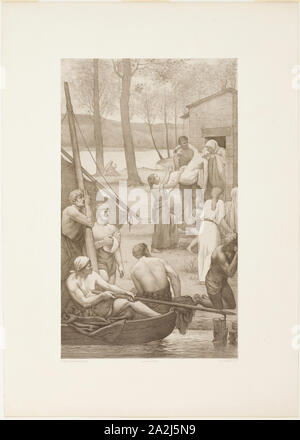 Pastoral Life of Saint Geneviève (left panel), c. 1888, Georges-William Thornley (French, 1857-1935), after Pierre Puvis de Chavannes (French, 1824-1898), France, Lithograph on paper, 509 × 300 mm (image), 702 × 503 mm (sheet - Stock Photo