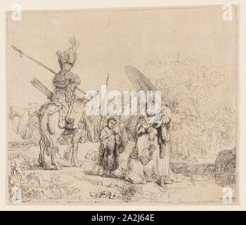 The Baptism of the Eunuch, 1641, Rembrandt van Rijn, Dutch, 1606-1669, Holland, Etching on buff laid paper, 182 x 213 mm (plate/image), 187 x 216 mm (sheet - Stock Photo