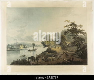 View of Hillbank on the River Thames near London, published 1795, Francis Jukes (English, 1745-1812), after John Laporte (English, 1761-1839), England, Color aquatint on paper - Stock Photo