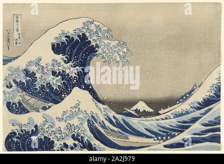 Under the Wave off Kanagawa (Kanagawa oki nami ura), also known as The Great Wave, from the series Thirty-Six Views of Mount Fuji (Fugaku sanjurokkei), 1830/33, Katsushika Hokusai 葛飾 北斎, Japanese, 1760-1849, Japan, Color woodblock print, oban, 25.4 × 37.6 cm (10 × 14 3/4 in - Stock Photo