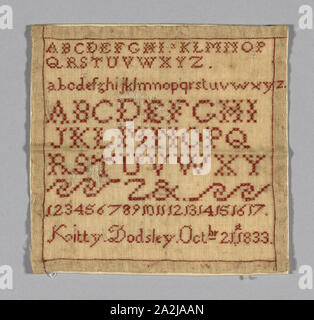 Sampler, 1833, Kitty (née Dodsley) Marriott Moffatt (English, 1825-1902), England, United States, Tiffany cloth embroidered with red silk, 15 x 16 cm (6 x 6 1/4 in - Stock Photo