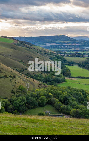 Landscape view from Devil's Dyke car park of hills in the South Downs in the Mid Sussex district of West Sussex, England, UK. Vertical. - Stock Photo