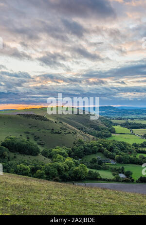 Landscape view from Devil's Dyke car park of hills in the South Downs in the Mid Sussex district of West Sussex, England, UK. Portrait. - Stock Photo