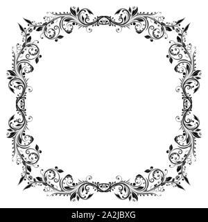Floral filigree frame. Decorative square design element - Stock Photo