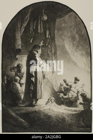 The Raising of Lazarus: The Larger Plate, c. 1632, Rembrandt van Rijn, Dutch, 1606-1669, Holland, Etching on paper, 343 x 235 mm (sheet trimmed within plate mark - Stock Photo