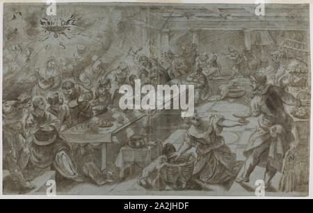 Last Supper, n.d., after Jacopo Robusti, called Tintoretto, Italian, 1519-1594, Italy, Brush and brown wash, heightened with lead white (partially oxidized), on blue laid paper, laid down on ivory laid paper, 348 x 552 mm - Stock Photo