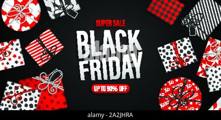 Black Friday Sale banner. Cool seasonal discount poster with red and white gift boxes on black background. Holiday template for advertising shopping - Stock Photo