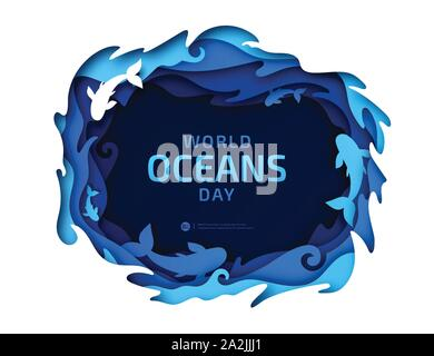 Paper art of World Oceans Day. Global celebration dedicated to help protect and conserve world oceans, water, underwater world, ecosystem, ecology. - Stock Photo