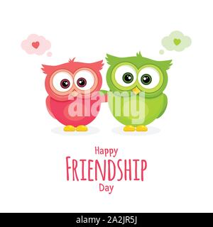 Happy Friendship day, holiday of the best friends. Two funny owls hugging. Greeting card with pink and green owl