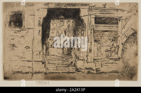 The Fish Shop, Venice, 1879/80, James McNeill Whistler, American, 1834-1903, United States, Etching and drypoint with foul biting in black ink on ivory laid paper, 129 x 224 mm (plate), 136 x 224 mm (sheet - Stock Photo