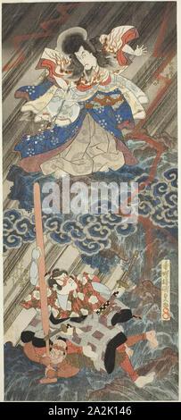The actors Ichikawa Danjuro VII as Kan Shojo (Sugawara Michizane) and Segawa Kikunojo V as Umeomaru in the play Sugawara Denju Tenarai Kagami, performed at the Kawarazaki Theater in the ninth month, 1832, 1832, Utagawa Kunisada I (Toyokuni III), Japanese, 1786-1864, Japan, Color woodblock print, vertical shikishiban diptych, surimono, 43.7 x 19.3 cm - Stock Photo