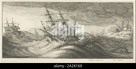 Warships and a Spouting Whale, 1665, Wenceslaus Hollar, Czech, 1607-1677, Bohemia, Etching on ivory laid paper, 124 × 272 mm (plate), 127 × 273 mm (sheet - Stock Photo