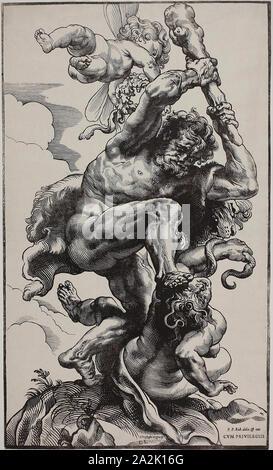 Hercules Slaying Envy, 1633/34, Christoffel Jegher (Flemish, 1596-1652/53), after Peter Paul Rubens (Flemish, 1577-1640), Germany, Woodcut on ivory paper, 602 × 362 mm (image/block/sheet - Stock Photo