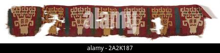 Fragment (Band), A.D. 700/900, Nazca-Wari, Probably south coast, Peru, Peru, Slit tapestry, 42.6 x 7.0 cm (16 3/4 x 2 3/4 in - Stock Photo