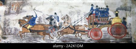 Heroism on Land (Fire Engine), 1875/1900, Woven by Thomas Stevens (English, 1828–1888), England, Coventry, Coventry - Stock Photo