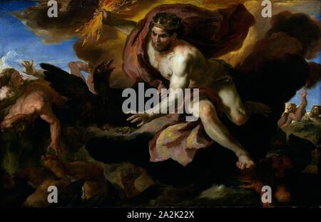 Jove casts his Thunderbolts at the Rebellious Giants, 1690/95, Johann Michael Rottmayr, Austrian, 1654-1730, Austria, Oil on canvas, 32 × 49 1/2 in. (81.3 × 125.2 cm - Stock Photo