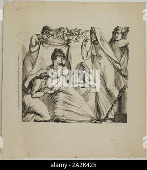 Love Tormented by Considerations Great and Small, 1817–20, Dominique-Vivant Denon, French, 1747-1825, France, Lithograph (pen and ink style and crayon style) in black on cream wove paper, 231 × 244 mm (image), 362 × 335 mm (sheet - Stock Photo