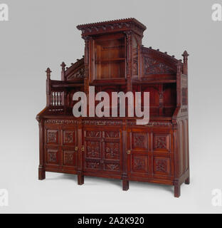 Sideboard, 1876/80, Herter Brothers, American, 1864–1906, New York City, Oak with white pine, 230 × 213.4 × 73.7 cm (91 1/2 × 84 × 29 in - Stock Photo