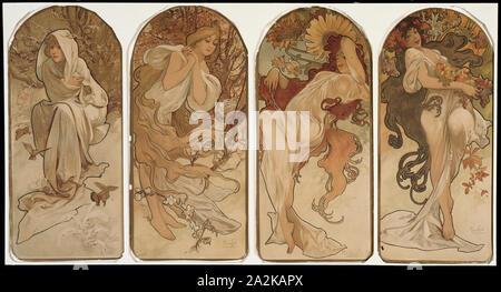 The Seasons, 1897, Alphonse Marie Mucha, Czech, 1860-1939, Czech Republic, Color lithograph on paper, 150 × 430 mm (each panel - Stock Photo
