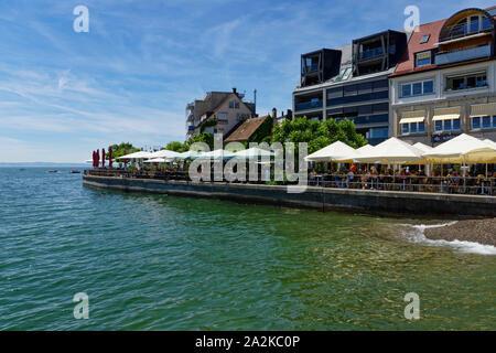 Lakeside promenade in Friedrichshafen on Lake Constance, Baden-Württemberg, Germany - Stock Photo