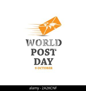 9 october world post day vector design image. world post day with mail and world map image vector - Stock Photo