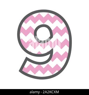 9 Nine Chevron Number w colorful pink and white pattern and grey border - Stock Photo