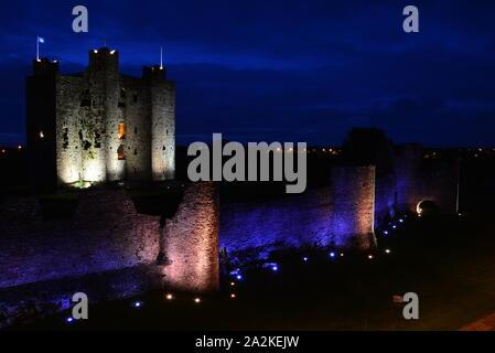 Trim Castle, Ireland. Nighttime - Stock Photo