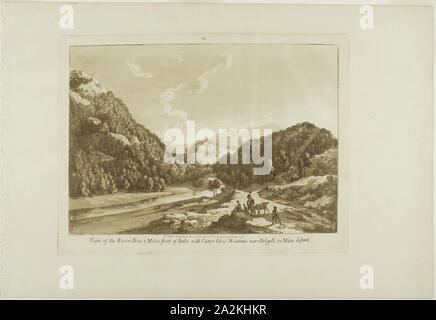 View of the River Dee 3 Miles Short of Bala, with Cadar-Idris Mountain near Dolgelli 30 Miles Distant, 1776, Paul Sandby, English, 1731-1809, England, Aquatint on cream laid paper, 237 × 314 mm (plate), 320 × 463 mm (sheet - Stock Photo