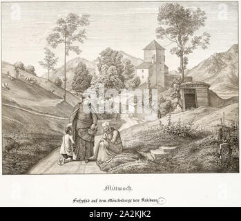 Wednesday: Footpath on the Mönchsberg Near Salzburg, 1823, Ferdinand Olivier, German, 1785-1841, Germany, Lithograph with tint-stone on white wove paper, 200 x 275 mm (image), 370 x 529 mm (sheet - Stock Photo