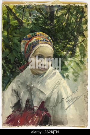 Portrait of a Girl, 1883, Anders Zorn, Swedish, 1860-1920, Sweden, Watercolor and graphite on ivory wove paper, 254 x 177 mm