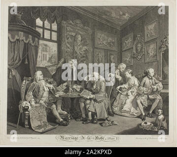 Plate One, from Marriage à la Mode, 1745, Gérard Scotin II (French, 1698-1755), after WIlliam Hogarth (English, 1697-1764), France, Etching and engraving in black on ivory laid paper, 353 × 440 mm (image), 384 × 465 mm (plate), 402 × 480 mm (sheet - Stock Photo