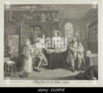 Plate Three, from Marriage à la Mode, 1746, Bernard Baron (French, 1696-1762), after William Hogarth (English, 1697-1764), France, Etching and engraving in black on ivory laid paper, 354 × 443 mm (image), 388 × 466 mm (plate), 401 × 480 mm (sheet - Stock Photo
