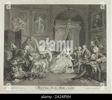 Plate Four, from Marriage à la Mode, 1745, Simon Francis Ravenet (French, 1706 or 1721-1774), after William Hogarth (English, 1697-1764), France, Etching and engraving in black on ivory laid paper, 354 × 445 mm (image), 387 × 465 mm (plate), 405 × 480 mm (sheet - Stock Photo