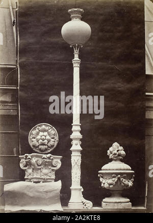 Interior Details and Candelabra, Théâtre du Vaudeville, Paris, 1869, printed 1875/76, Louis-Emile Durandelle, French, 1839–1917, France, Albumen print, 38.7 × 28 cm (image/paper), 54.4 × 43.5 cm (mount), Masks from the Control Room (Masques du vestibule de contrôle), c. 1870, Louis-Emile Durandelle, French, 1839–1917, France, Albumen print, from 'Le Nouvel Opéra de Paris, Sculpture Ornementale' (1875), 27.5 × 38 cm (image/paper), 45 × 62.9 cm (mount - Stock Photo
