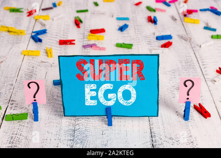 Word writing text Super Ego. Business photo showcasing The I or self of any demonstrating that is empowering his whole soul Scribbled and crumbling sh - Stock Photo
