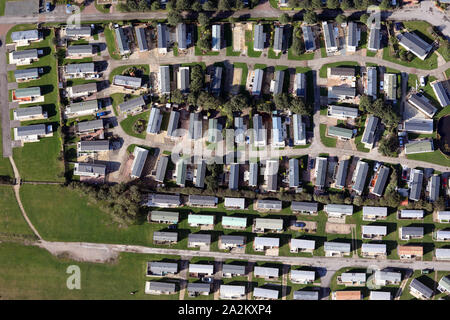 aerial view of static and touring caravans in Yorkshire, UK - Stock Photo