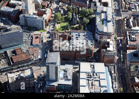 aerial view of the St Johns Centre shopping centre, Leeds, UK - Stock Photo