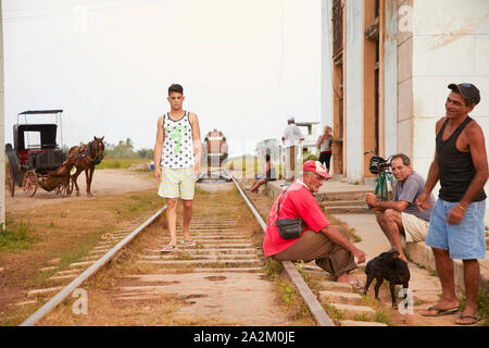 Cuba Cardenas Railwaystation people living in old trains by lack of houses. Horse and carriage. 9-7-2018 foto Jaco Klamer - Stock Photo