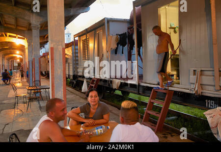 Cuba Cardenas Railwaystation people living in old trains by lack of houses 9-7-2018 foto Jaco Klamer - Stock Photo
