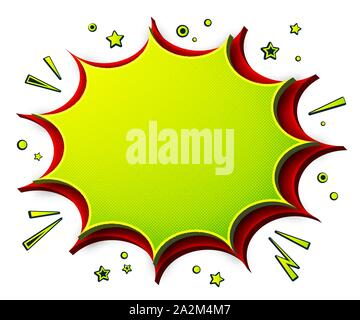 Comics background. Cartoon poster in pop art style with green- red speech bubbles with halftone and sound effects. Funny colorful banner - Stock Photo