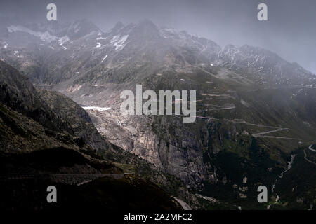 View from the Grimsel Pass towards the retreating Rhone Glacier,.Rhonegletscher . is a mountain pass in Switzerland, crossing the Bernese Alps at an e - Stock Photo