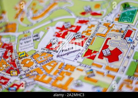 Piazza Risorgimento on the map of Benevento in Campania - Stock Photo
