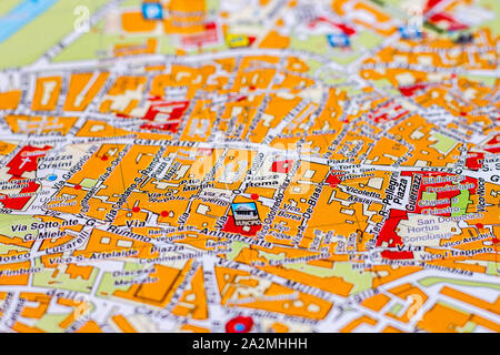 Piazza Roma on the map of Benevento in Campania - Stock Photo
