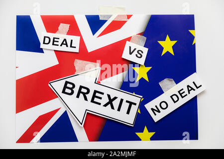 Brexit or Not to Brexit Deal or No Deal. Brexit Flags of European Union and Great Britain with Question Mark about Deal or NO Deal, UK VS EU Concept I - Stock Photo