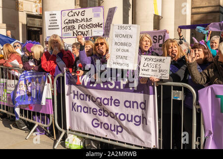Manchester. October 2019: WASPI - Women Against State Pension Injustice protest at Conservative Conference - Stock Photo