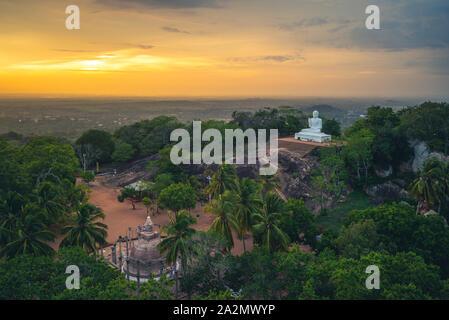 Mihintale in Anuradhapura, Sri Lanka at dusk - Stock Photo