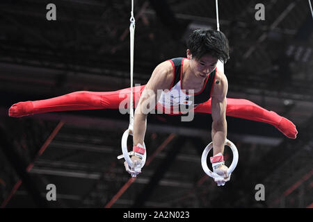 Stuttgart, Germany. 3rd Oct, 2019. KAZUMA KAYA from Japan practices on the still rings during the podium training in the Hanns-Martin-Schleyer-Halle in Stuttgart, Germany. Credit: Amy Sanderson/ZUMA Wire/Alamy Live News - Stock Photo