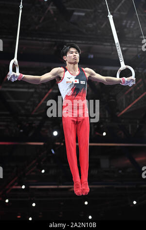 Stuttgart, Germany. 3rd Oct, 2019. KAZUMA KAYA from Japan practices on the still rings during the podium training in the Hanns-Martin-Schleyer-Halle in Stuttgart, Germany. Credit: Amy Sanderson/ZUMA Wire/Alamy Live News